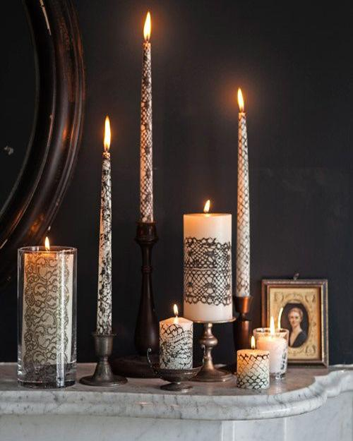 black and white candles for halloween decorating