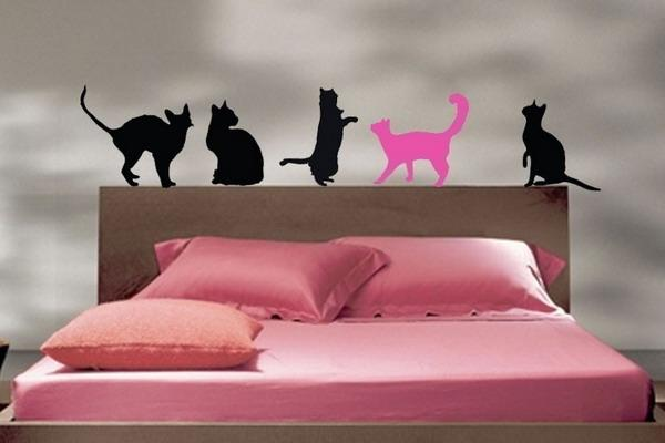charming bedroom wall art stickers | 21 Charming Interior Decorating Ideas with Cat Stickers ...