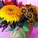 fall ideas for table centerpieces with pumpkin and flowers