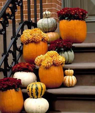 Floral pumpkin centerpieces and creative table decoration Fall outdoor decorating with pumpkins