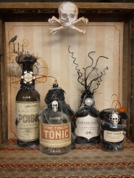 halloween decorating with vintage glass bottles and jars - Vintage Style Halloween Decorations