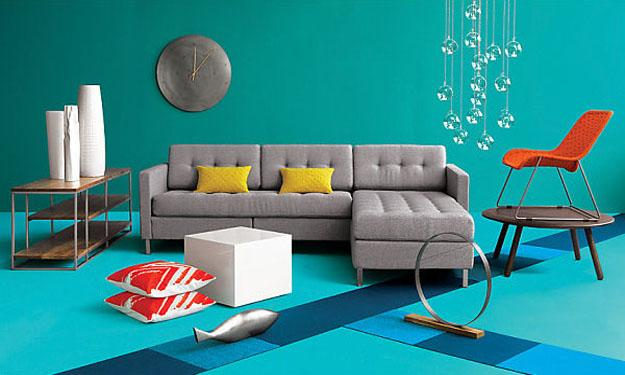interior decoration with blue and red colors, modern decorative patterns