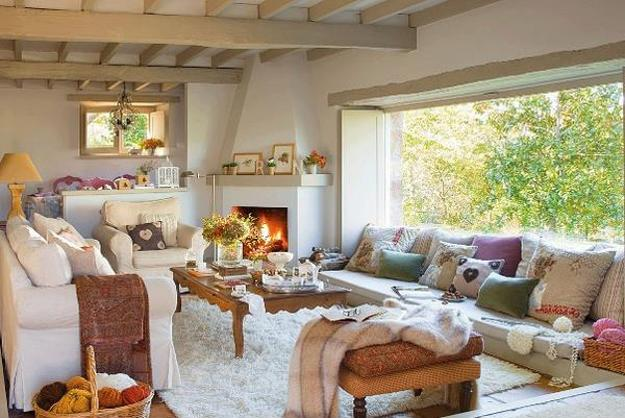Cozy And Comfortable Cottage Style Decor Ideas, Living Room With Corner  Fireplace And Large Window