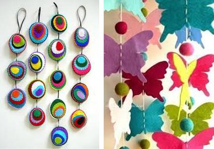 decoration pieces making at home 45 craft ideas for handmade garlands recycling felt pieces 12062