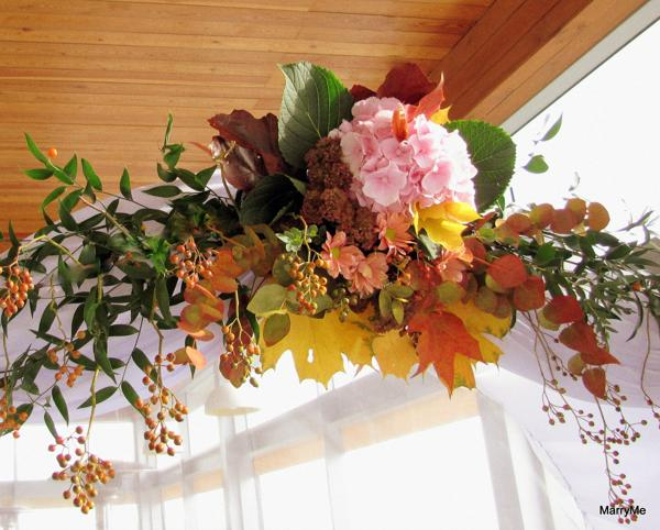 Beautiful Fall Flower Arrangement With Autumn Leaves