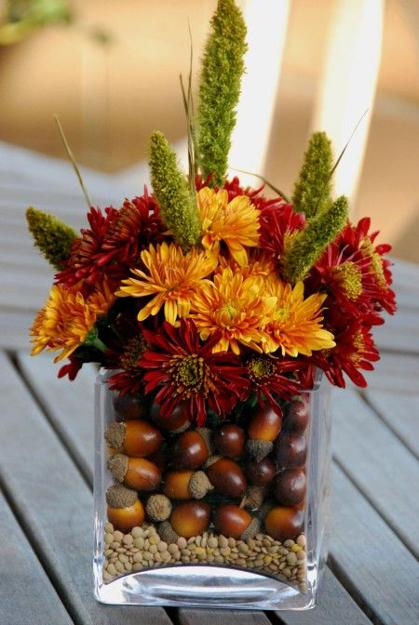 Decorating White Living Room: 25 Fall Flower Arrangements, Thanksgiving Table
