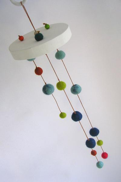 Hanging Handmade Felt Decorations Made With Colorful Balls