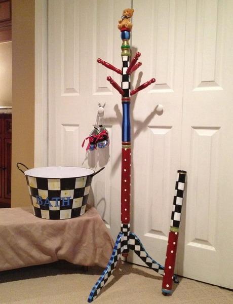 Painted Tree Coat Rack