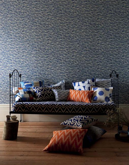 Fish Wallpaper Design In Blue Color Sofa Pillows With Modern Decoration Patterns In Bright Colors