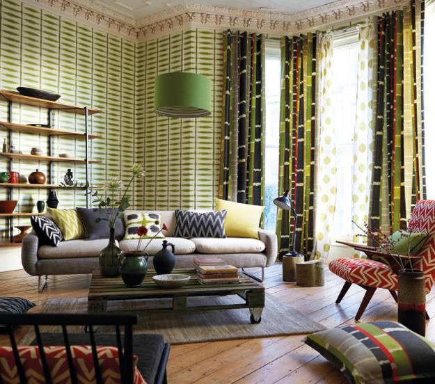 Modern Wallpaper And Home Fabrics In Green Colors, Modern Living Room Decor  With Bright Accents In Blue And Orange