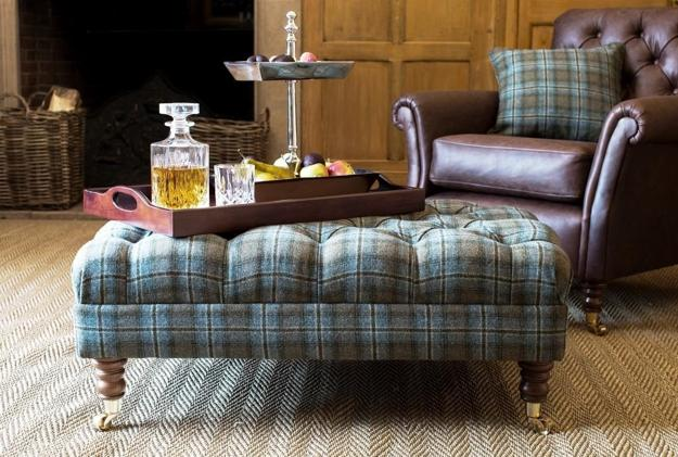 Living Room Furniture Upholstery Fabric In Blue Color With Plaid Design