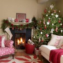 classic Christmas decor in white green and red colors