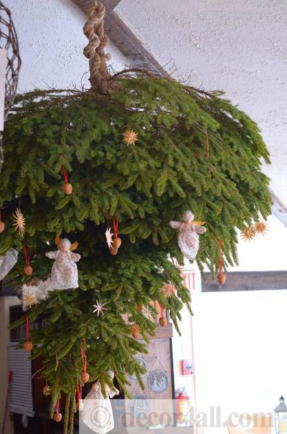 Upside Down Christmas Tree And Traditional Holiday