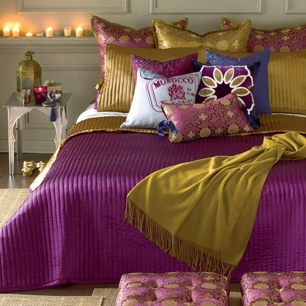 goldern yellow color shades and purple colors for bedroom decorating