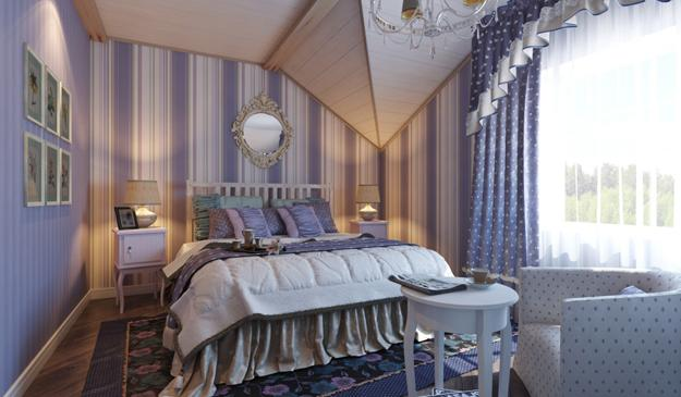 Striped And Floral Bedding In Blue And Yellow Colors Wooden Bedroom Furniture And Floral Wallpaper French Style Bedroom Decor