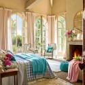 modern bedroom decor and pink blue colors