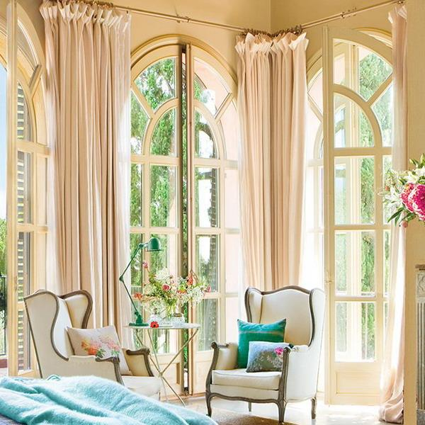 curtains and classic furniture for bedroom decorating in vintage style