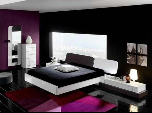 modern interior with black and white color combinations and colorful accents, modern rooms
