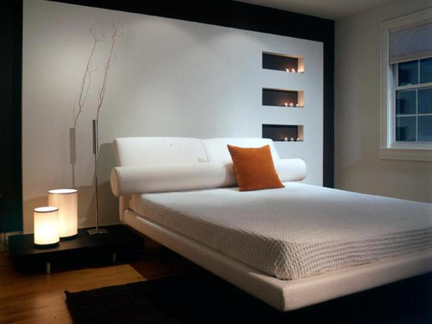 modern interior with black and white color combinations and colorful accents , modern rooms