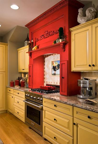 20 interior decorating ideas to bring yellow color and for Bright red kitchen cabinets