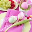 easter decor and table decorating in pink and green colors