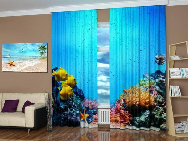 Window Curtain Decorating Ideas: Modern Window Treatments With Art Prints Enhancing Travel