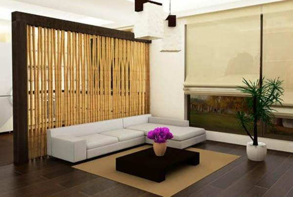 bamboo room divider living room design with low furniture asian interior decorating ideas - Interior Decorating Ideas