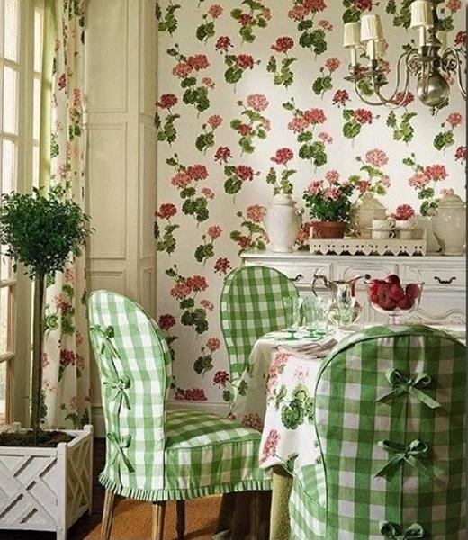 Dining Room Decorating With Floral Wallpaper And Chair Slipcovers With  Vichy Check Fabric Patterns Nice Ideas