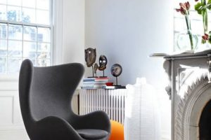 modern interior decorating ideas in eclectic style, black white and red colors