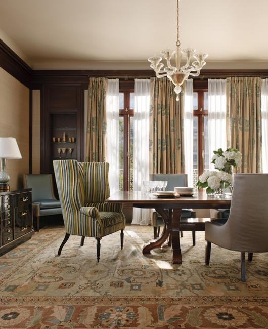 Modern window treatments 20 dining room decorating ideas for Modern and traditional dining room