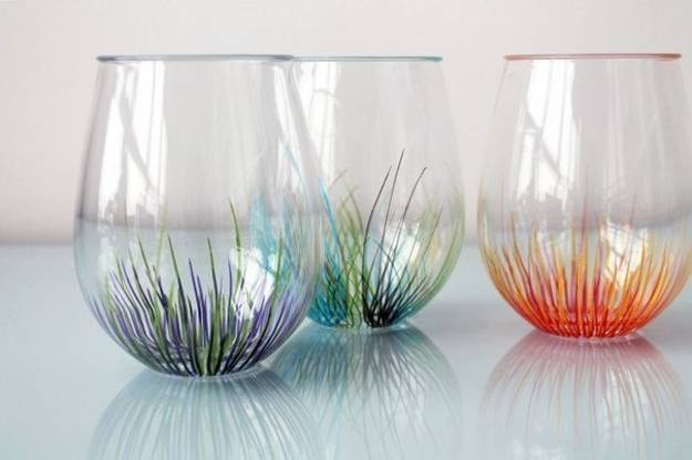 Simple glass painting designs created with colorful dots and lines