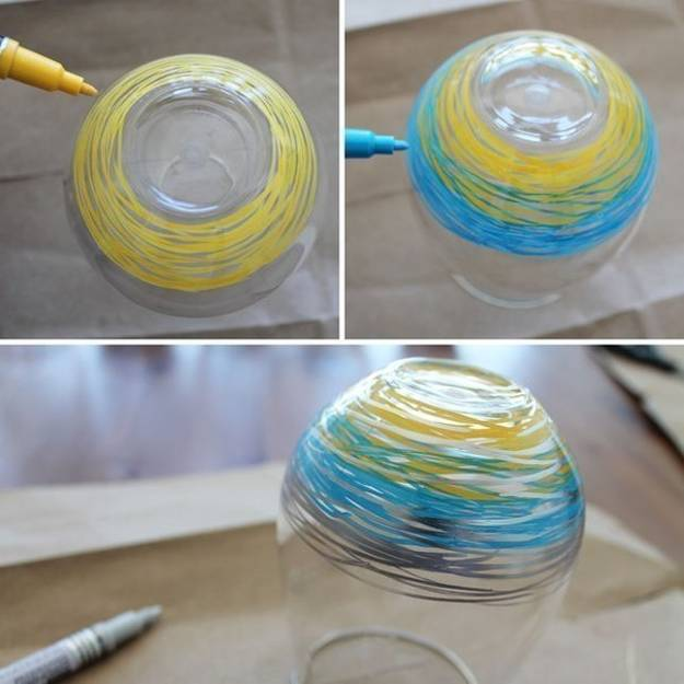 3 simple glass painting designs created with colorful dots - Creative glass painting ideas ...