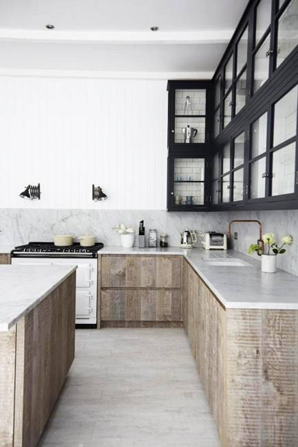 Neutral colors and rustic wood texture creating elegant for Elegant modern kitchen designs