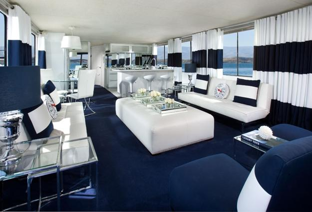 Nautical Bedroom Interior And Decorating Themes: Modern Interior Decorating With Blue Stripes And Nautical