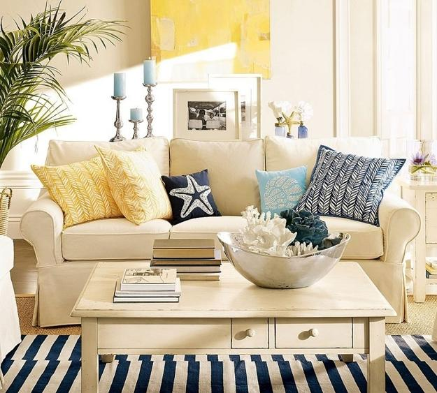 Captivating Soft White And Blue Color For Living Room Decorating With Nautical Theme,  Striped Furniture Upholstery Fabric And Coral Decorations Part 10