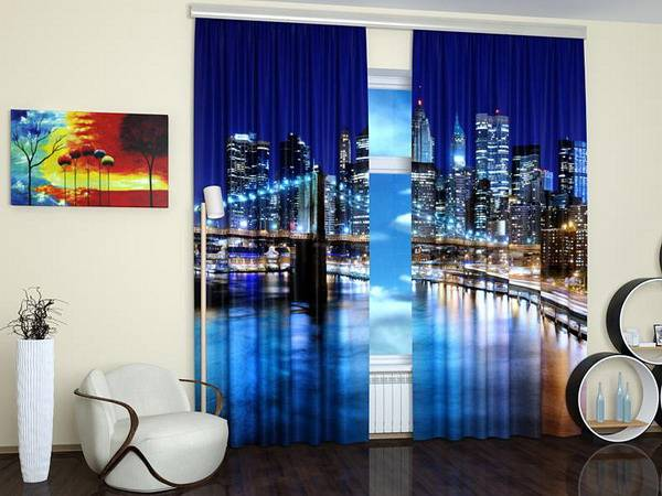 Modern window treatments with art prints enhancing travel for Travel room decor