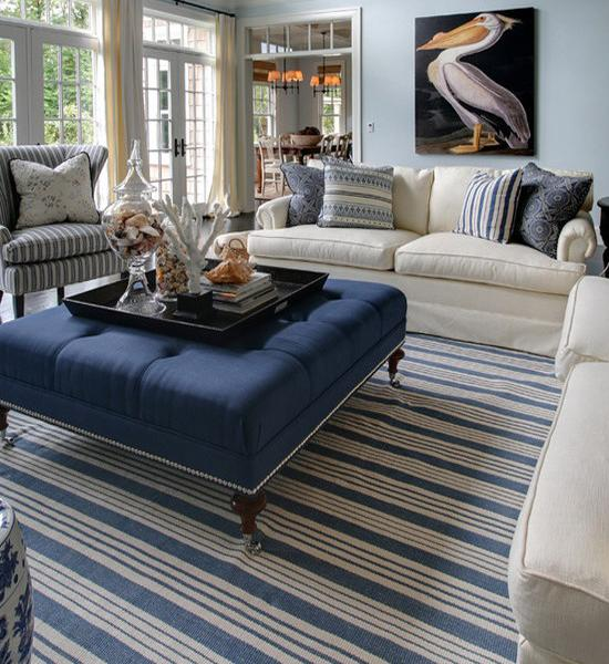 interior decorating with wide stripes, floor rugs