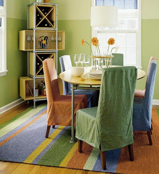 room decor with striped rugs and carpets in bright colors