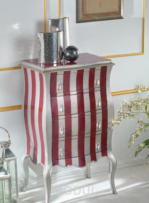 Striped Furniture Decoration, Vertical Stripes In White And Red Colors