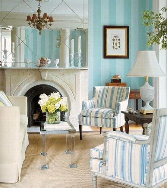 Diy Blue Interior Design: Modern Interior Decorating With Stripes In White And Blue