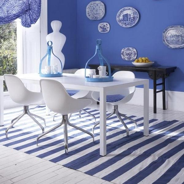 Decorating With Stripes For A Stylish Room: Modern Interior Decorating With Stripes In White And Blue