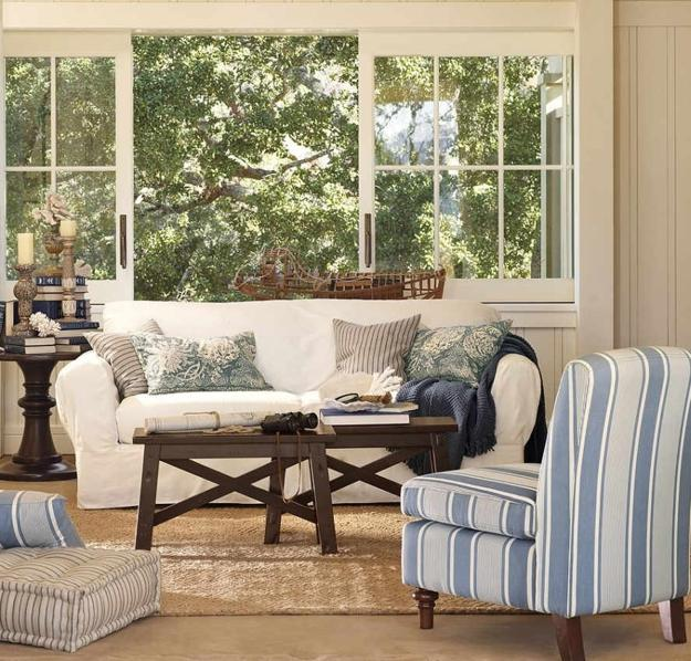 Modern Interior Decorating With Stripes In White And Blue