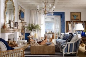 modern interiors with striped decor in white and blue, decorative patterns