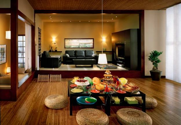 Modern Living Room And Dining Decorating In Asian Style