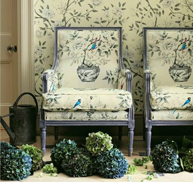 Beautiful wallpapers and upholstery fabrics with modern decoration
