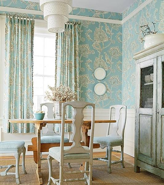 Retro Wallpaper In Blue Color Dining Room Decorating Ideas