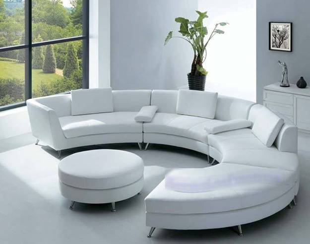 Contemporary Round Sofa And Ottoman Coffee Table In White