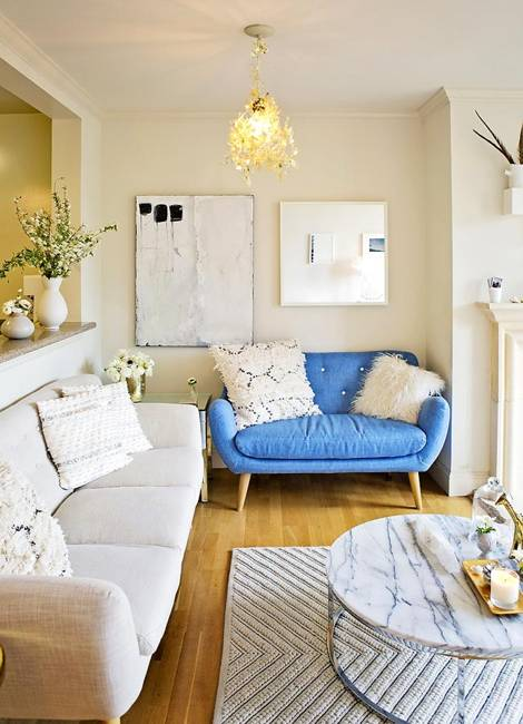 white decorating with blue and yellow accents for modern home interiors
