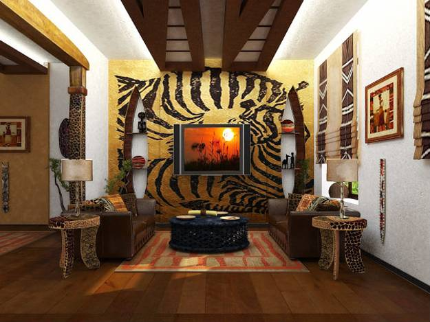 African Designs And Tribal Art, Modern Living Room In Contrasting Colors