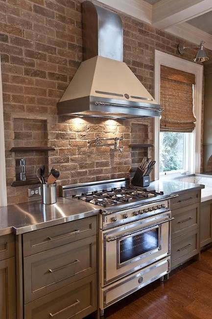 Modern Kitchen Decor With Brick Accent Wall And Stainless Steel Appliances